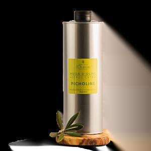 Huile d'olive Picholine du Domaine L'Oulivie. Huile d'olive très fruité